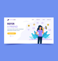 Refer a friend landing page with woman with vector