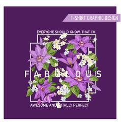 romantic summer floral design clematis flowers vector image