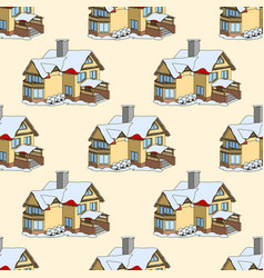 seamless pattern with cartoon houses in vector image