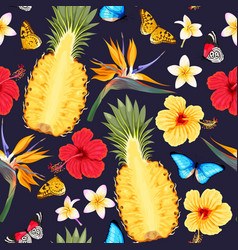 Seamless pattern with pineapple fruits vector