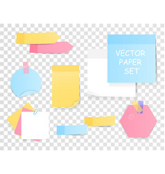 set blank sticky notes and memos vector image