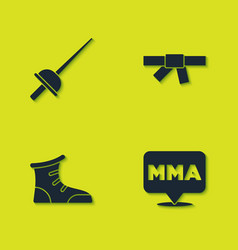Set fencing fight club mma sport boxing shoes vector