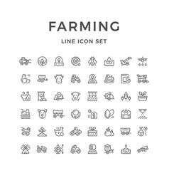Set line icons farming and agriculture vector