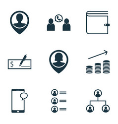 Set of 9 hr icons includes coins growth vector