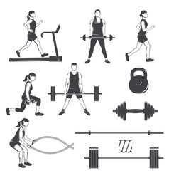 Set of fitness girls with fitness equipments vector