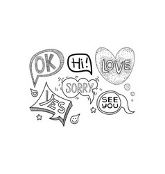 set of hand drawn speech bubbles of vector image