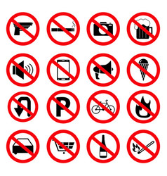 set of the prohibition signs of icons vector image