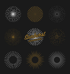 set sun bursting rays vintage background vector image