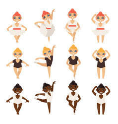 Set with cute little ballerinas in various vector