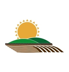 Silhouette colorful seeding with mountain and sun vector