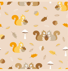 simple pattern with squirrels vector image