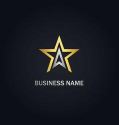 Star triangle line gold logo vector