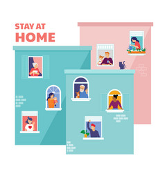 Stay at home concept design house facade vector