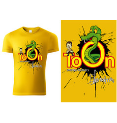 T-shirt design with cartoon snake vector