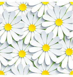 Texture seamless pattern with white chamomile vector