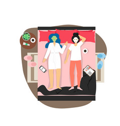 Two happy girls lying on bed with beauty facial vector