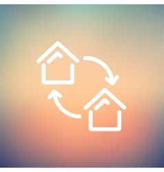 Two little houses thin line icon vector