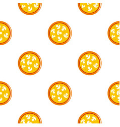 Vegetarian pizza with mushrooms pattern flat vector