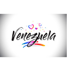 Venezuela welcome to word text with love hearts vector