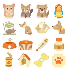 Veterinary clinic items icons set cartoon style vector image