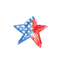 Watercolor star with american flag vector image