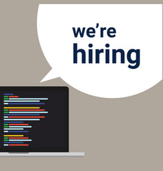 We are hiring programmer coding developer a sign vector