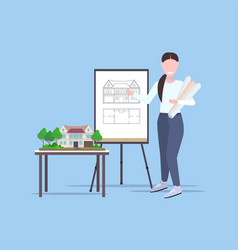woman architect holding rolled up blueprints vector image