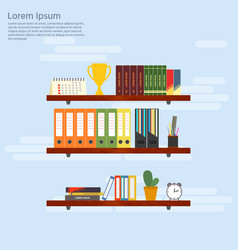 Wooden shelves with books and folders office vector