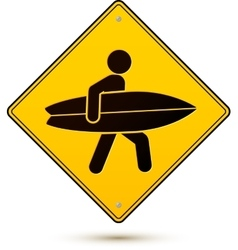 Yellow and black caution sign with surfer vector image