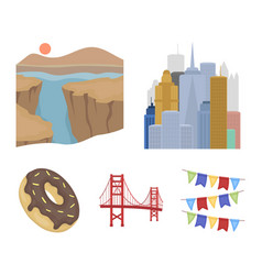 a megacity a grand canyon a golden gate bridge vector image vector image