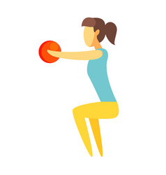 girl doing squatting exercise with a ball in her vector image