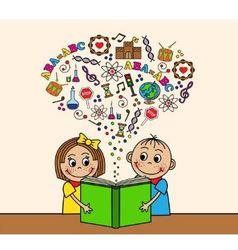 Cartoon children read a book vector image