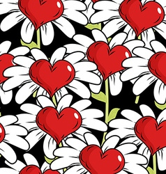 Flower of love seamless pattern Red heart with vector image vector image