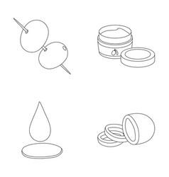 olives on skewers a piece of black olives a jar vector image