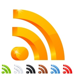 Set of 7 RSS icon in different colors vector image