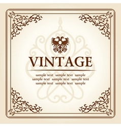 vintage curves floral frame ornament vector image vector image