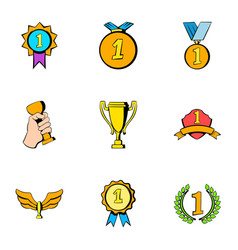 winner icons set cartoon style vector image vector image