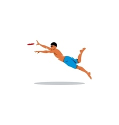 Attractive man playing frisby sign vector image vector image