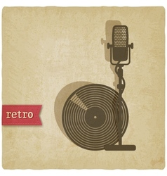 old background with microphone and record vector image