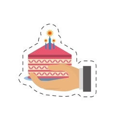 party piece cake in hand icon image vector image vector image