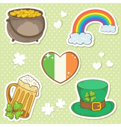 Saint Patricks Day stickers elements bowler vector image