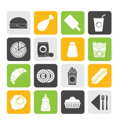 Silhouette fast food and drink icons vector
