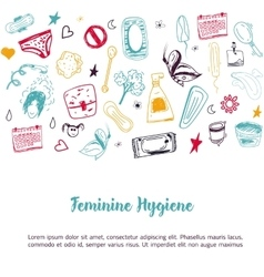 Sketch feminine hygiene banner design with tampon vector