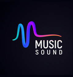 stylised sound wave isolated logo abstract pulse vector image