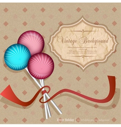 vintage background with lollipops candy vector image vector image