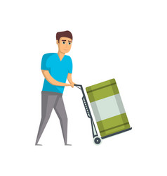 warehouse worker pushing trolley with barrel vector image vector image