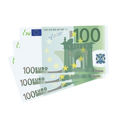 drawing of a 3x 100 Euro bills vector image vector image