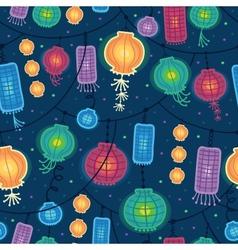Glowing lanterns seamless pattern background vector image