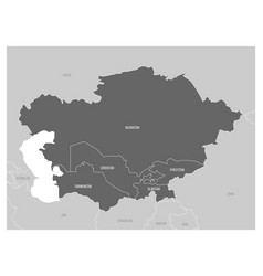 map of central asia region with highlighted vector image