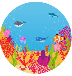 underwater world animal cartoon vector image